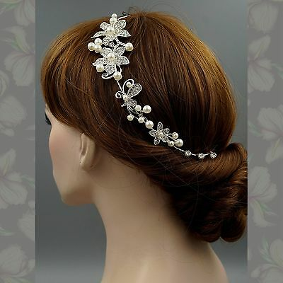 Bridal Accessories Wedding Headpiece Pearl Crystal Headband Hair Pin Tiara 09233