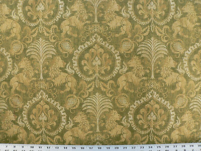 Drapery Upholstery Fabric Renaissance Coat of Arms Medieval Design - Verde