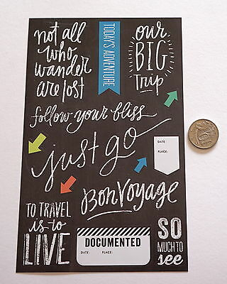 Scrapbooking No 482 - 12 White On Black Travel Saying  Stickers - Mixed Pack