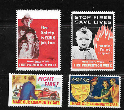 USA - Collection of 4 Stop Fires Seals - Fire Prevention - Mint