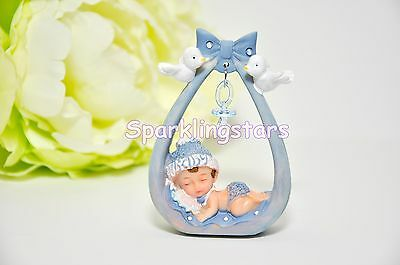 Baby Shower Party Favors Decoration Sleeping Baby Boy Blue Cake Topper
