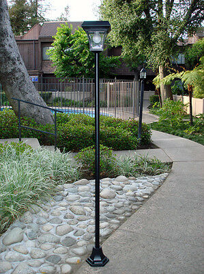 "77"" H Solar Powered Lamp Post Vintage Street Light w/ 4 Super Bright LEDs"