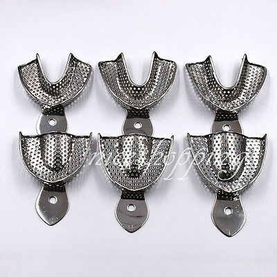 1 Kit/6pcs Dental Impression Stainless Steel Trays Autoclavable Big Middle Small