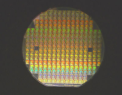 """6"""" Silicon Wafer: 1996 AMD 80C188 SOC (System on a Chip) PCnet-Mobile WLAN MAC"""