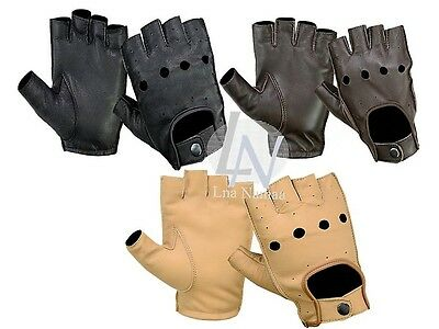 Brand New-Real Leather Fingerless Driving Gloves Top Quality Soft Leather Gloves