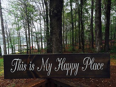 "Large Rustic Wood Sign - ""This is my Happy Place"" - 3 1/2 Feet Long! Farmhouse"