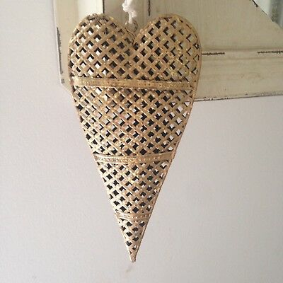 Vintage Style Shabby Chic Antique Gold metal Hanging Heart