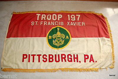 EARLY BOY SCOUT-3' x 5' TROOP 197 FLAG - PITTSBURGH, PA
