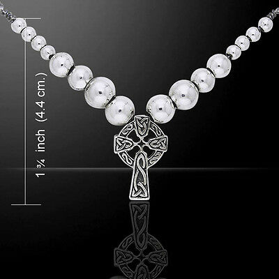 Celtic Knotwork .925 Sterling Silver Cross Beaded Necklace Peter Stone