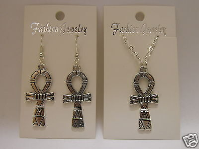 Egyptian Ankh Cross Earrings or Necklace 925 Sterling Silver Wires - Clip On