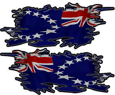 Cook Island Ripped Flag Left & Right 100Mm By 40Mm Gloss Laminated