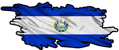 EL SALVADOR RIPPED FLAG Size apr. 165mm by 70mm GLOSS LAMINATED DOES NOT FADE