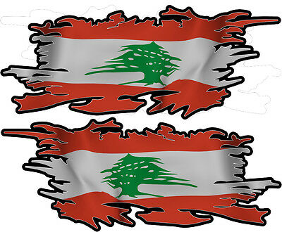 Lebanon Lebabese Ripped Flag Left & Right 100Mm By 40Mm Gloss Laminated