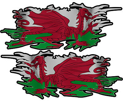 Welsh Ripped Flag Left & Right 100Mm By 40Mm Gloss Laminated