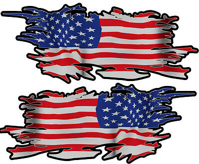 Usa Ripped Flag Left & Right 100Mm By 40Mm Gloss Laminated