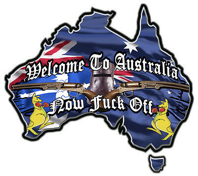 1X  NED KELLY WELCOME kangaroo map of australia VINYL DECAL 80 MM BY 71 MM apr.