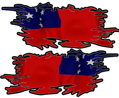 Samoa Ripped Flag Left & Right 100Mm By 40Mm Gloss Laminated