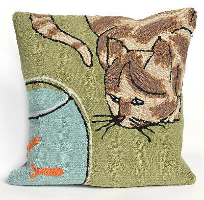 """/""""WIDE EYED WONDER/"""" TABBY CAT THROW PILLOW PILLOWS 18/"""" SQUARE"""