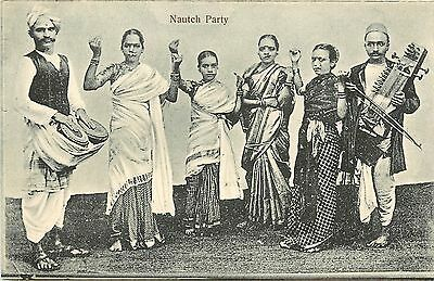 Vintage Postcard Nautch Party Northern Inida Dancers and Musicians