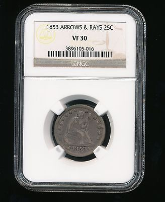 1853-P Seated Liberty Quarter Dollar 25C NGC VF 30 Type 3, Arrows & Rays