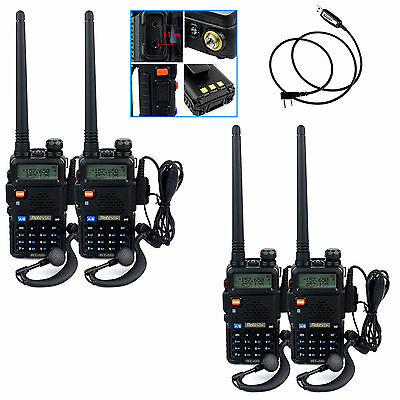 4x Retevis Walkie-Talkies 5W 128CH 2-way radio dual band CTCSS/DCS TOT+1*cable