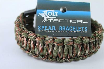 Colt Spear LARGE Woodland Camo Para-Cord Survival Bracelet USA Made 17/18'  Cord