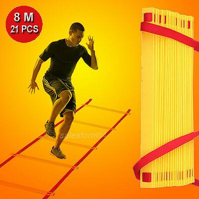 21 Rungs 8M Speed Agility Training Ladder Footwork Football Soccer Fitness W/Bag