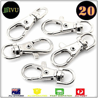 20 Pcs 37X16 Silver Tone Trigger Lobster Claw Swivel Clasp Hook for Key rings