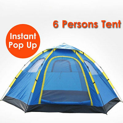 6 Person Camping Tent Instant Pop Up Camping Hiking Fishing Sets Up In Seconds