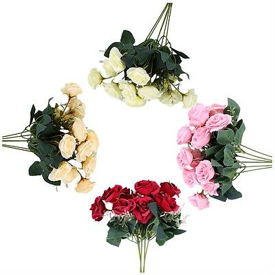 12 Heads Artificial Rose Flower Bouquet For Wedding Party Home Decoration WS