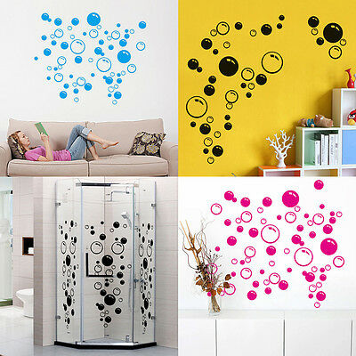 Removable Waterproof Bubbles Bathroom Sticker Art Wall Glass Window Home Decal