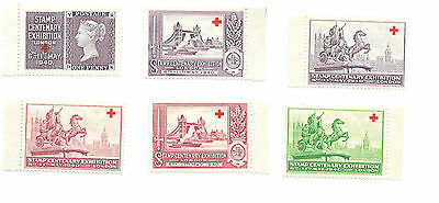 1940 Great Britain - 6 Stamp Centenary Exhibition Seals - Mint Never Hinged