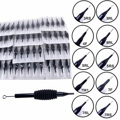 60Pcs Tattoo Disposable Silicon Grips Tubes Needles Kit Varied Size Choices