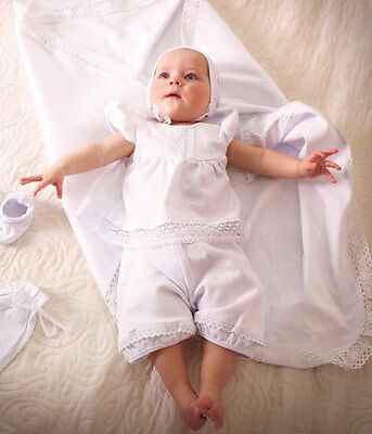 Newborn Girl Baptism 3 Piece Suit White Christening Clothes‎ Baby Girl Outfit