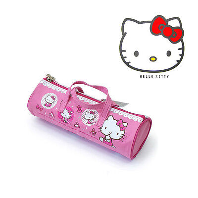 Sanrio Hello Kitty Circle Shape Pouch Pencil Case Bag Zippered Cosmetic - PINK