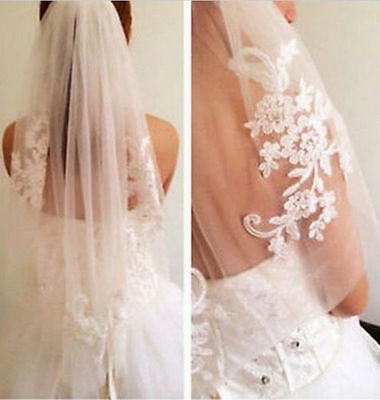 Ivory white Lace Diamond wedding dress Bridal Accessories Veil with comb