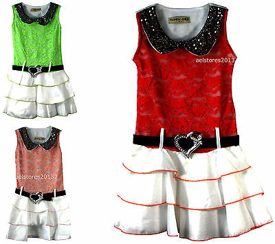 Girls Summer Holiday Dress Ruffle Skirt Party Belt Heart Diamante Age 3-10 Years