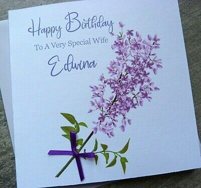 Personalised Handmade A5 Lilac Flower Pearl Butterfly Birthday Card Any Age  C65