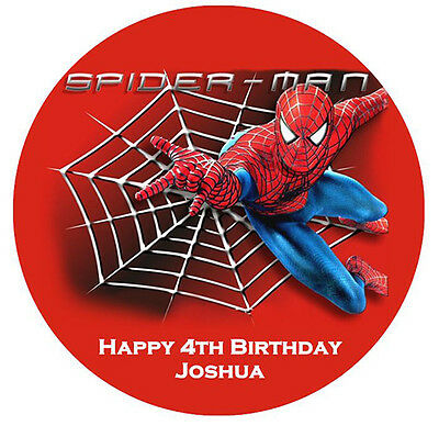 Personalised Spiderman Edible Premium Icing Party Cake Decoration Image Topper