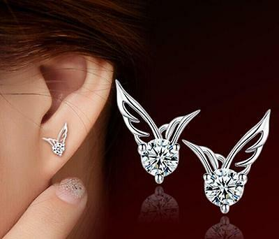 925 Sterling Silver Crystal Angel Wing Earrings Stud For Women Christmas Gift