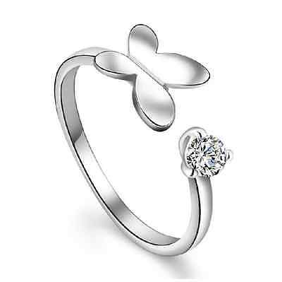 925 Sterling Silver Crystal Butterfly Open Ring Women Fashion Jewelry Size O
