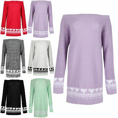 Womens Full Sleeve Knitwear Pullover Jumper Ladies Hearts Dress Pullover Sweater