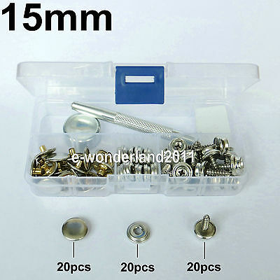 15mm Stainless Steel Canvas to Screw Press Stud Kit Tools For Car/Boat Canopies