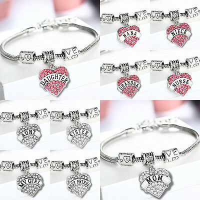 Love Heart Crystal Charm Pendant Silver Bangle Bracelet Hot Fashion Family Gifts