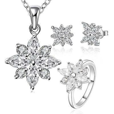 Women's 925 Sterling silver necklace ring stud earrings Fashion jewelry Set Gift