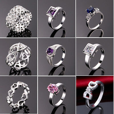Wholesale Women's 925 Sterling Silver Filled Ring Fashion jewelry Gift Size Q