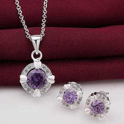 Women 925sterling silver necklace earring solid crystal jewelry sets party gift