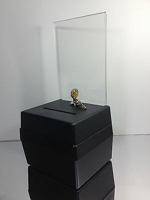 "Black Acrylic 6"" wide Small Clear Donation Box with cam-lock & FREE SHIPPING"