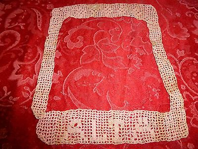 Lovely Antique Vintage 19c Crochet Lace Pink Collar name ALTA on front