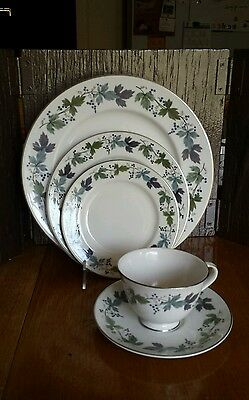 5 pc Place Setting Royal Doulton Fine China Burgundy Made in England
